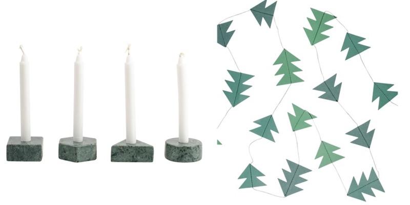 vihreät marmoriset kynttilänjalat ja kuusi koriste