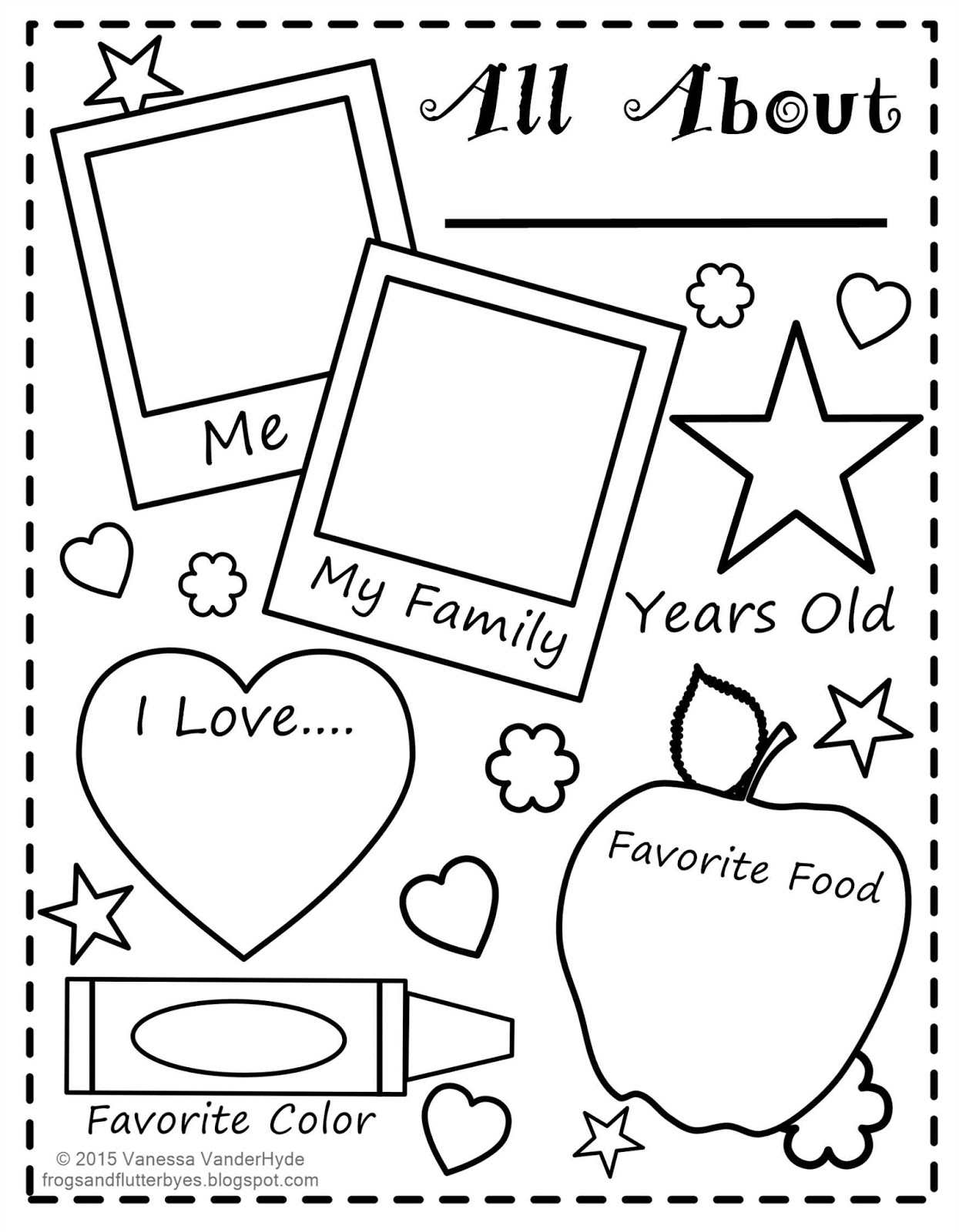 photo relating to Printable All About Me named The Frogs and the Flutterbyes: All Regarding Me Free of charge Printable