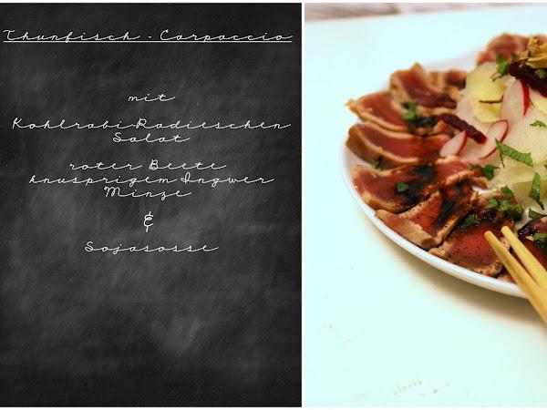 Thunfisch-Carpaccio mit Kohlrabi-Radieschen-Salat