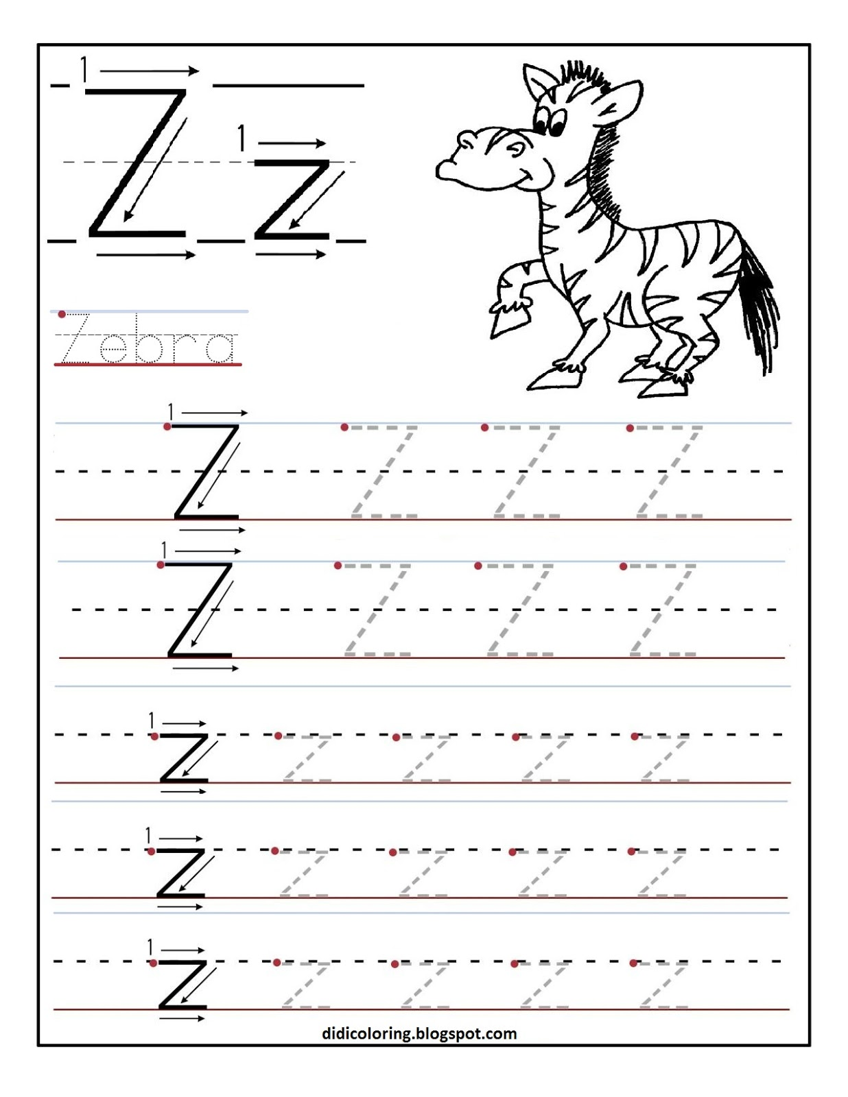 math worksheet : letter z worksheet  khayav : Free Tracing Worksheets For Kindergarten