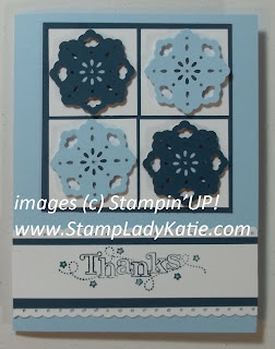 Card made with Stampin'UP! Sale-a-bration set: Outlined Occasions and the Triple Doily Punch