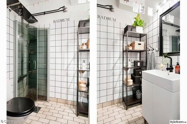 industriellt badrum, diy tips, inredning, styleroom, hylla av stål, dusch, duschar, vitt kakel, kakelplattor, badrummet, vitt, vita, lina med tvättklämmor, prints, vykort, text på vägg, väggtext, bokstäver att sätta på väggen