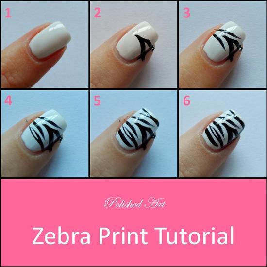 Zebra nail designs black and white