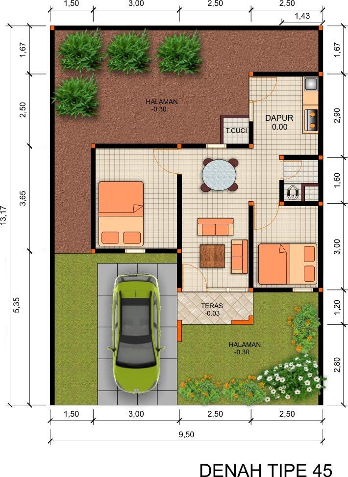 denah rumah minimalis modern type 21 36 45 1 lantai dan 2