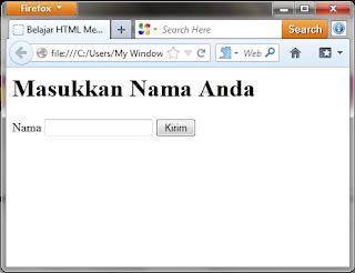 Belajar HTML Membuat Text Box