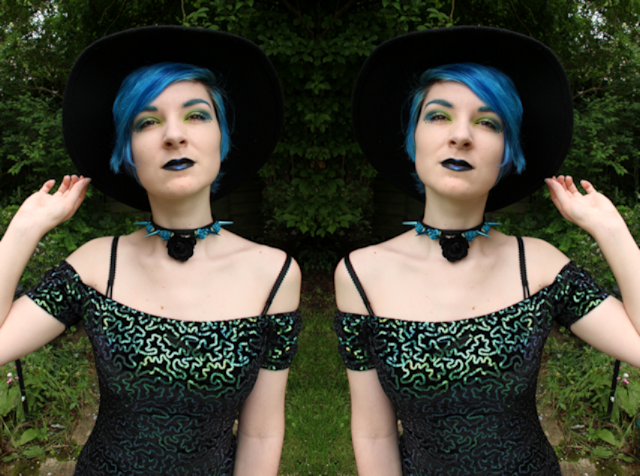 goth witch witchy clueless 90s fashion blogger alternative girl wide brimmed hat blue hair dyed color crazy capri blue creepyyeha choker spiked floral flowers H&M dress bodycon velvet vamp vampy irridescent pale make up portland black lisptick company sugarpill