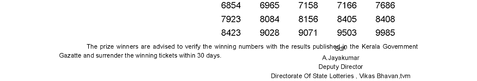 Monsoon Bumper 2015 BR 44 Lottery Result 21-7-2015