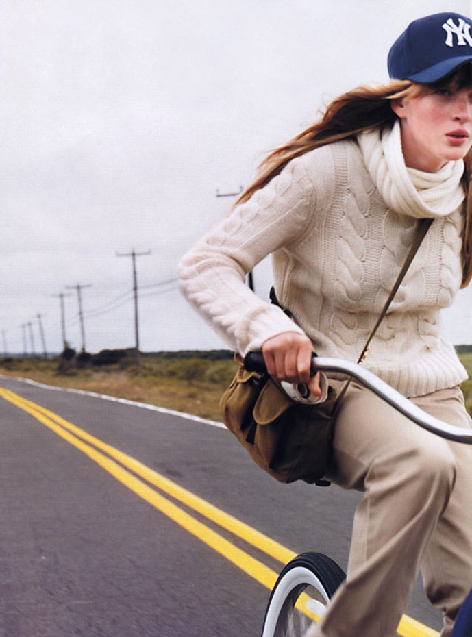 Anne Vyalitsyna photographed by Gilles Bensimon for Elle US September 2002  / bicycles in Vogue, Harper's Bazaar, Marie Claire, Elle fashion editorials and campaigns / via fashioned by love british fashion blog