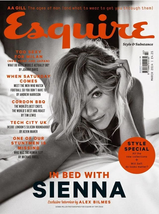 Sienna Miller is seductive on the cover of Esquire UK magazine's March 2014
