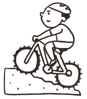 マウンテンバイクの選手のイラスト(スポーツ) モノクロ線画