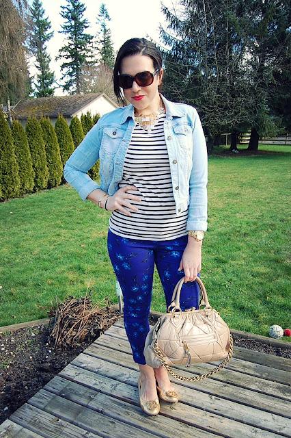 Stripe shirt, floral skinny jeans, light jean jacket and a Marc Jacobs bag.