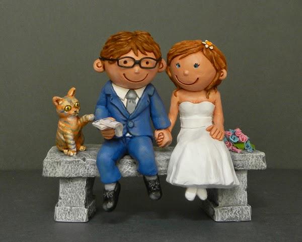 cake topper romantici divertenti sposini con gattino e bouquet orme magiche