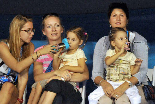 Topspin photos roger federer s wife mirka amp twins at australian