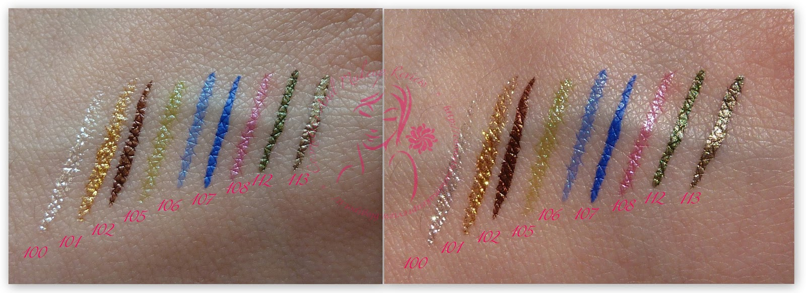 KIKO - Super Colour eyeliner - swatches frontali - a sinistra luce naturale indiretta, a destra luce naturale diretta