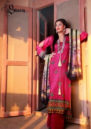 Long Lawn Suits With Crinkle Printed Dupattas