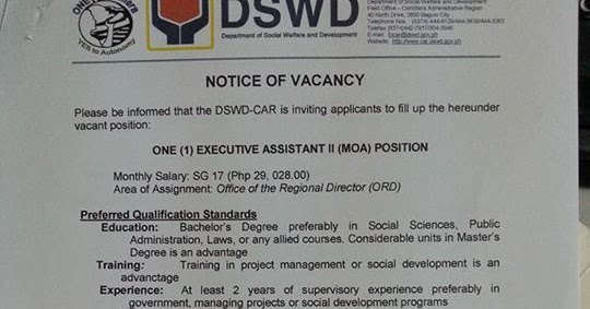 dswd cordillera is in need of an executive assistant  salary grade 17