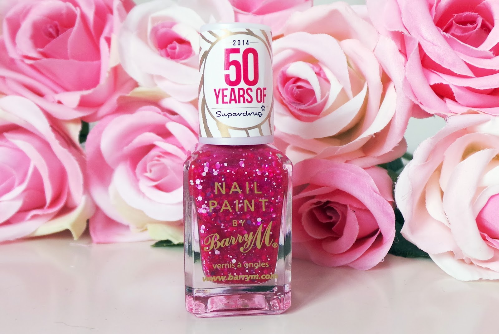 Barry M Pink Glitter Superdrug 50th Birthday Nail Polish, barry m, barry m limited edition, superdrug 50th birthday, superdrug, barry m at superdrug, nail blog, nail blogger, uk nail blog, pretty pink glitter, pink glitter nail polish, barry m glitter nails, beauty blog, bbloggers, uk beauty blog