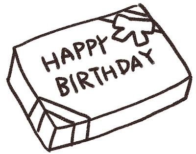 誕生日プレゼントのイラスト「ハッピーバースデー」 白黒線画