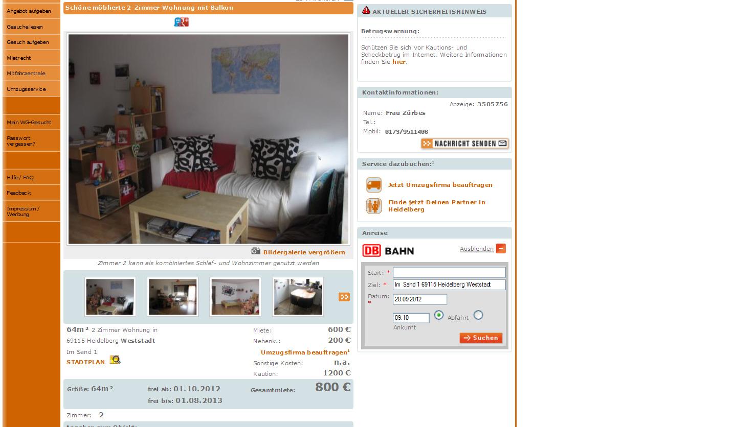 wohnung in heidelberg weststadt zur vermietung im sand 1 69115. Black Bedroom Furniture Sets. Home Design Ideas