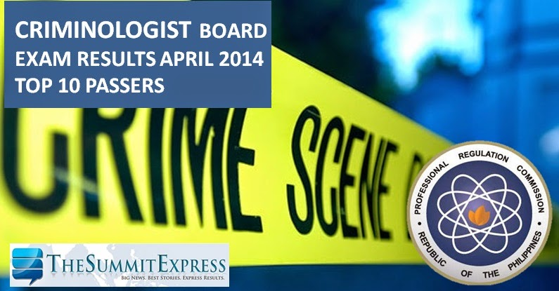 Top 10 criminology board exam April 2014