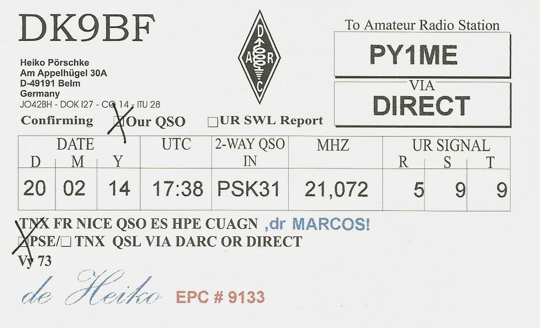 QSL de DK9BF para PY1ME, verso