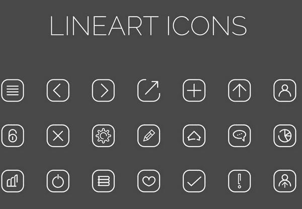 Free Line Art Icons (PSD, AI)