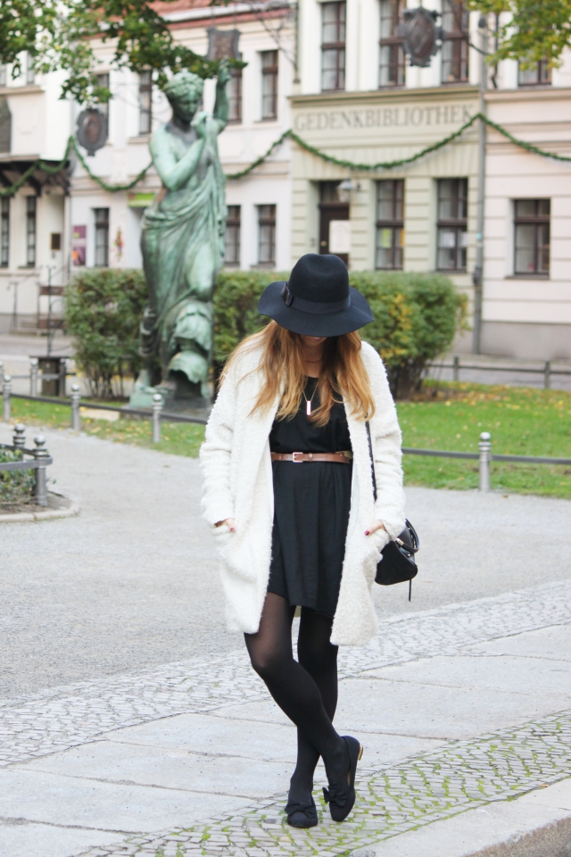 Black Dress and white coat