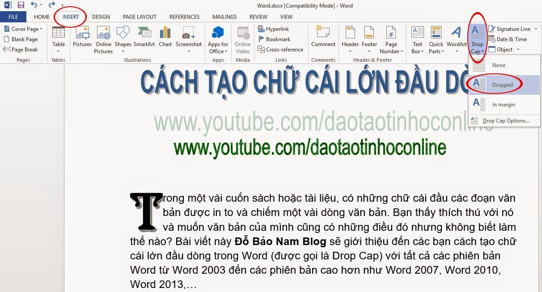 Cách tạo chữ cái lớn đầu dòng trong Word 2013