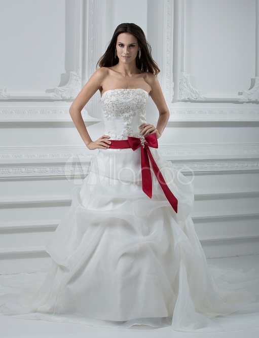 China Wholesale Dresses - Style Ball Gown Strapless Sash Beading Embroidery Satin Organza Wedding Dress
