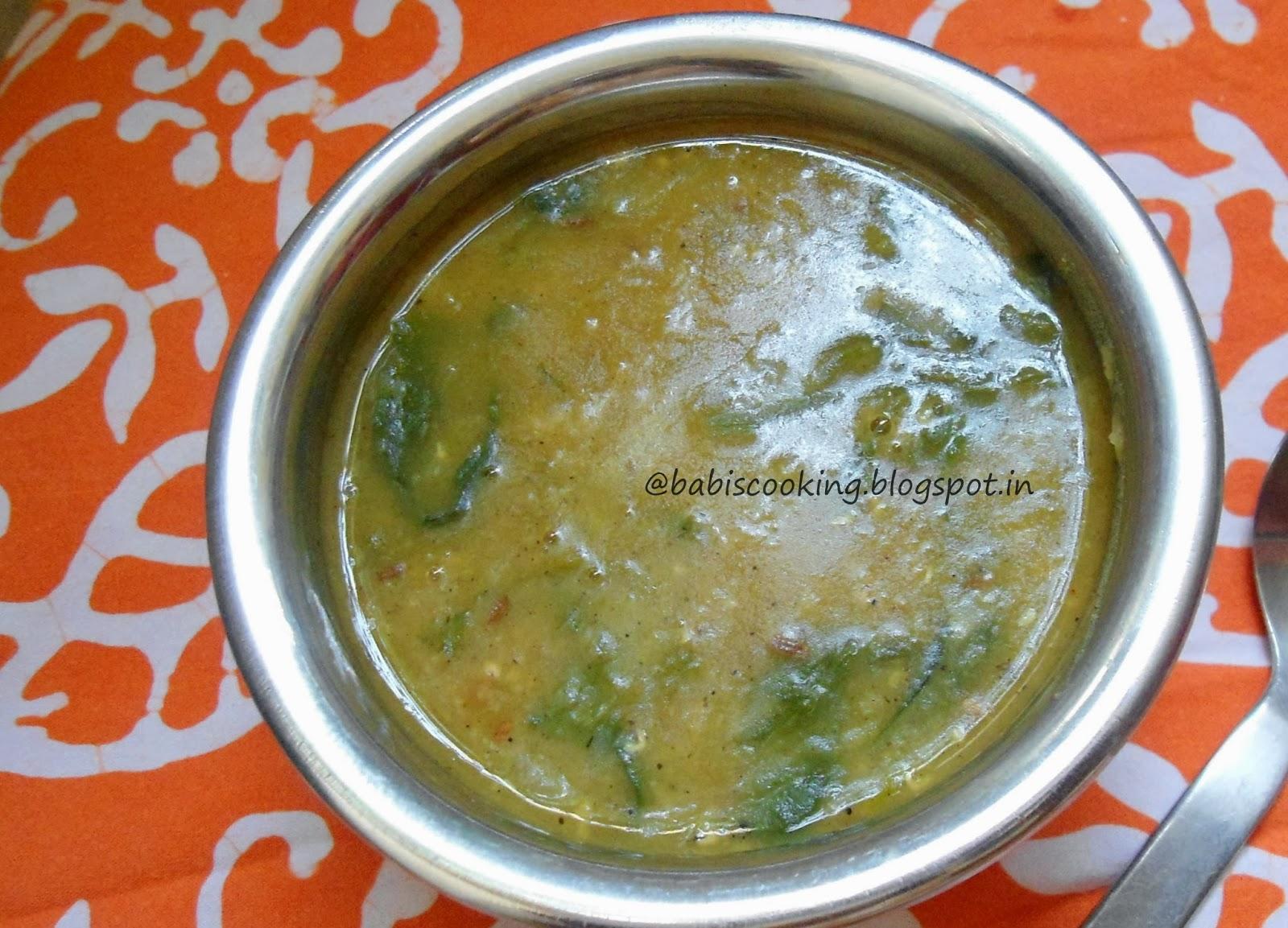 masoor dal in spinach