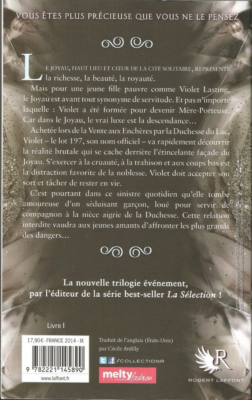 LE JOYAU (The Jewel) Amy Ewing back cover quatrième de couverture résumé synopsis