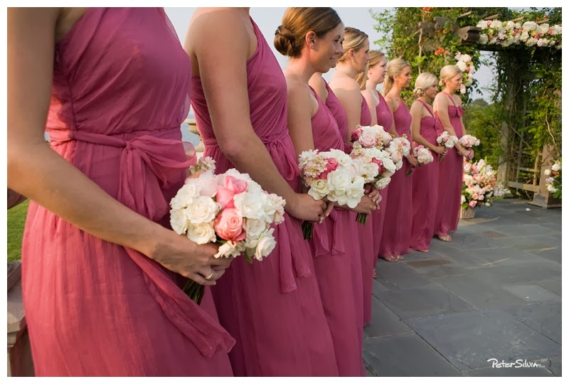different bridesmaids dresses in the same color