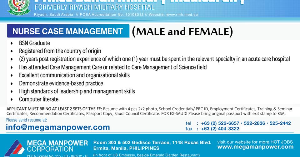 Saudi Arabianurse Case Managementmalefemale Jobs For Nurses