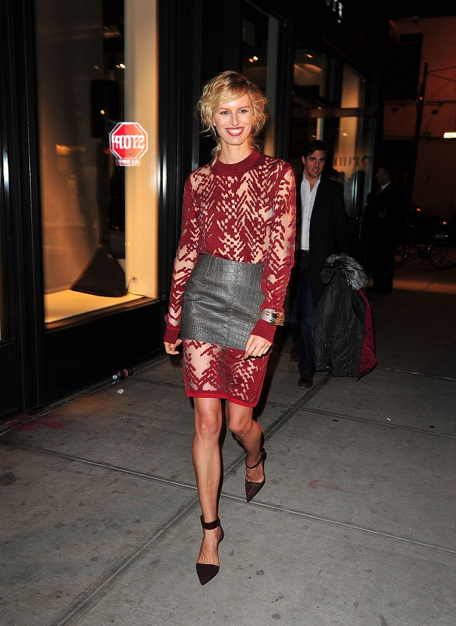 Skirt over dress: Karolina Kurkova attends the 2012 Runway To Win Launch at Theory