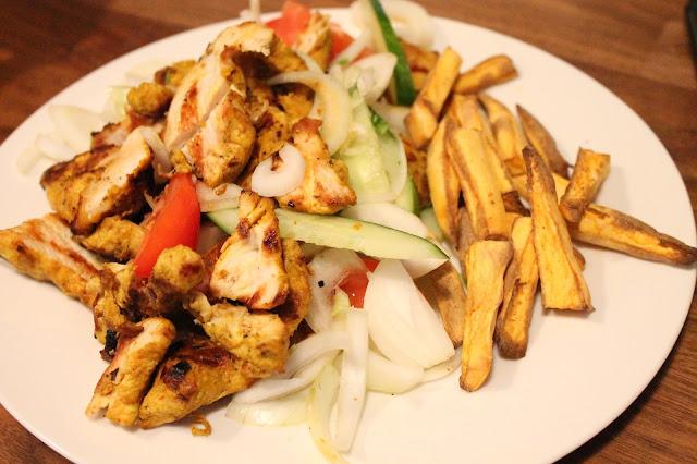 slimming world friendly takeaway chicken shish kebab with sweet potato fries