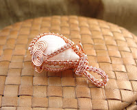 View 3 of Vicky's Woven Copper Wire around White Nutmeg Shell Pendant