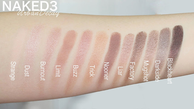 NAKED 3 palette swatches : Strange, Dust, Burnout, Limit, Buzz, Trick, Nooner, Liar, Factory, Mugshot, Darkside, Blackheart