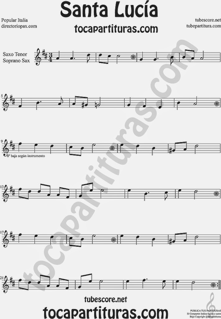 Santa Lucía Partitura de Saxofón Soprano y Saxo Tenor Sheet Music for Soprano Sax and Tenor Saxophone Music Scores