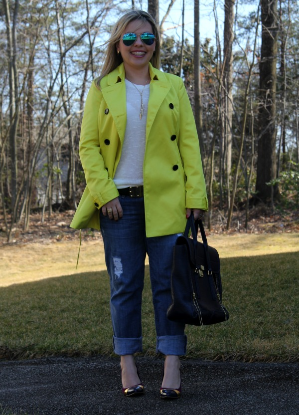 Sold Denim Distressed Boyfriend Jeans, INC International Concepts Short Trench Coat, White Sweater from TJ Maxx, Shoes by Sole Society, 3.1 Phillip Lim Pashli Satchel, Ray Ban Aviator Sunglasses with Blue Lenses
