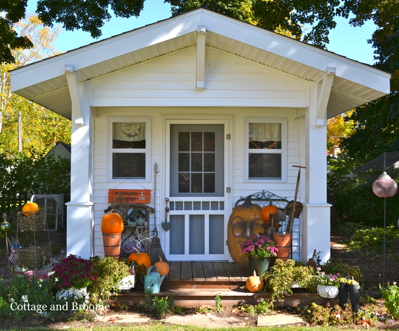 Cottage and broome shed decked out for fall for Cottage sheds
