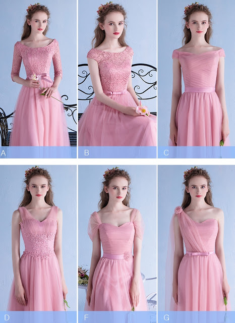 New 2016 Six-Design Lovely Pink Bridesmaids Maxi Dress