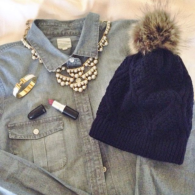 chambray and pom beanie