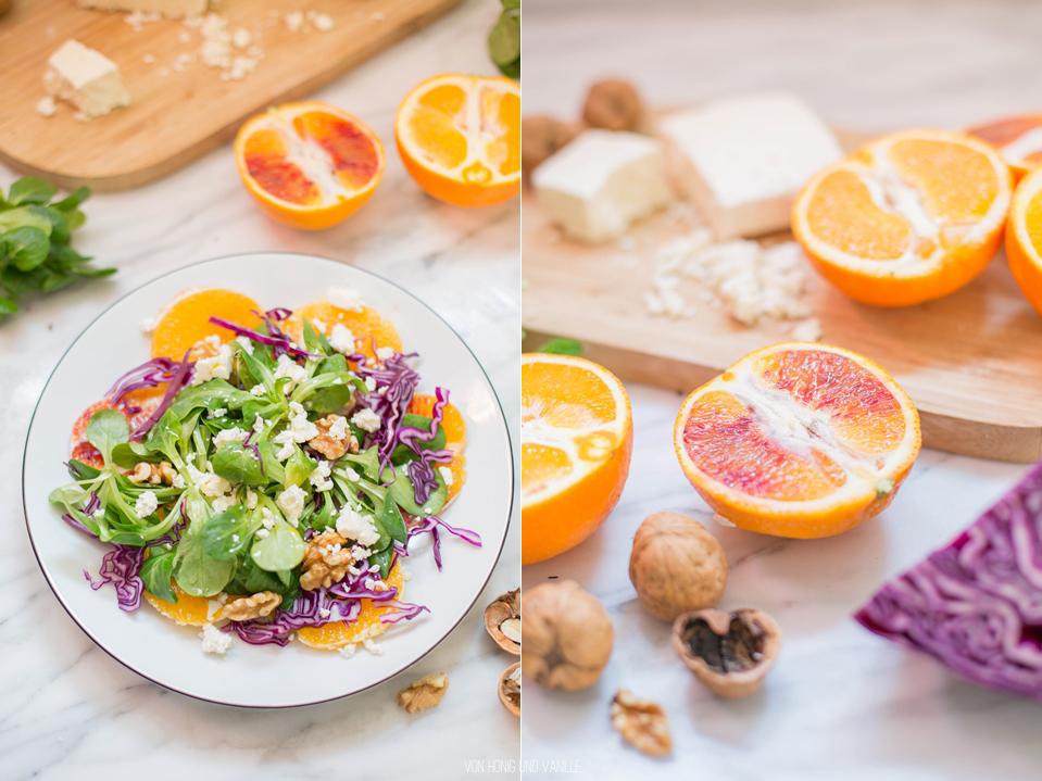 orangenrotkohl feldsalat walnüsse wintersalat food photography von honig und vanille