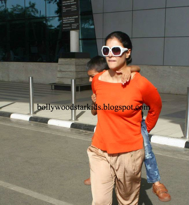 Kajol Gives Son Yug Devgn Piggyback Ride While Leaving Airport