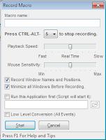 Opcja nagrywania nowego Makra w Macroscheduler