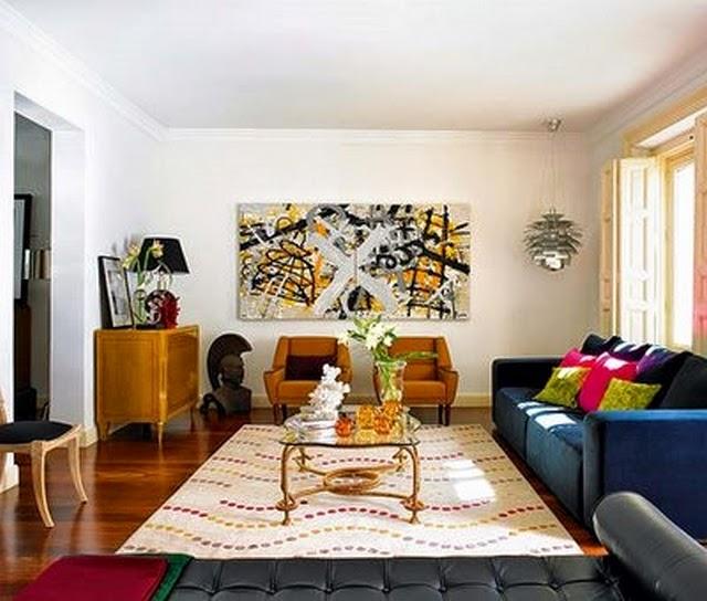 Muebles x muebles decorar la sala con un sof azul - Color ocre para paredes ...