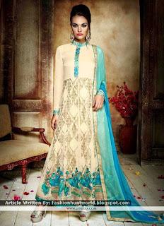 Hot Pink Indian Midsummer Anarkali Suits / Subtle Cream Shalwar Kameez