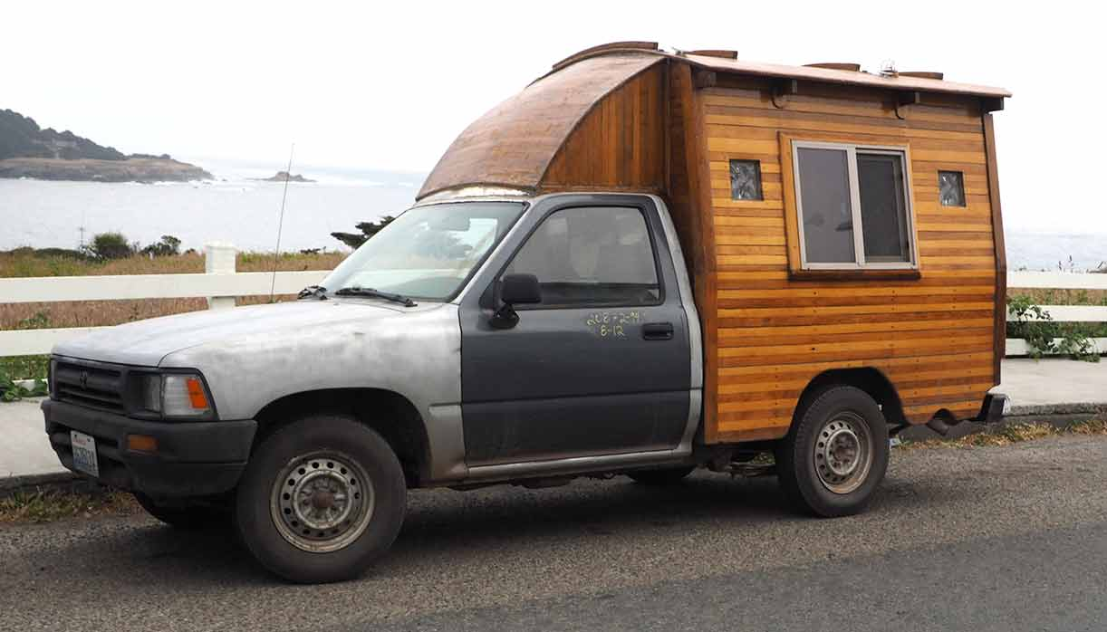 Pickup TruckWith Homemade Wooden Camper Shell