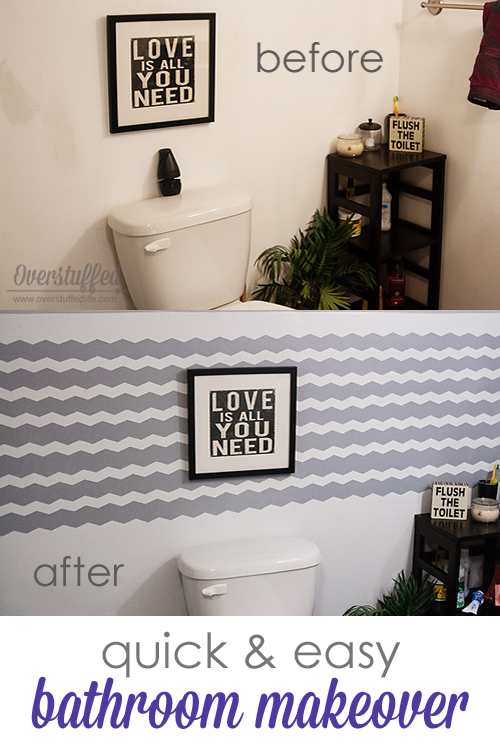 Using Frog shape tape, make a stunning focal point wall in a small bathroom