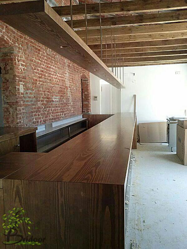 Bridoor s l rehabilitacion club de campo madrid barra de madera para bar restaurante - Barra de madera para bar ...
